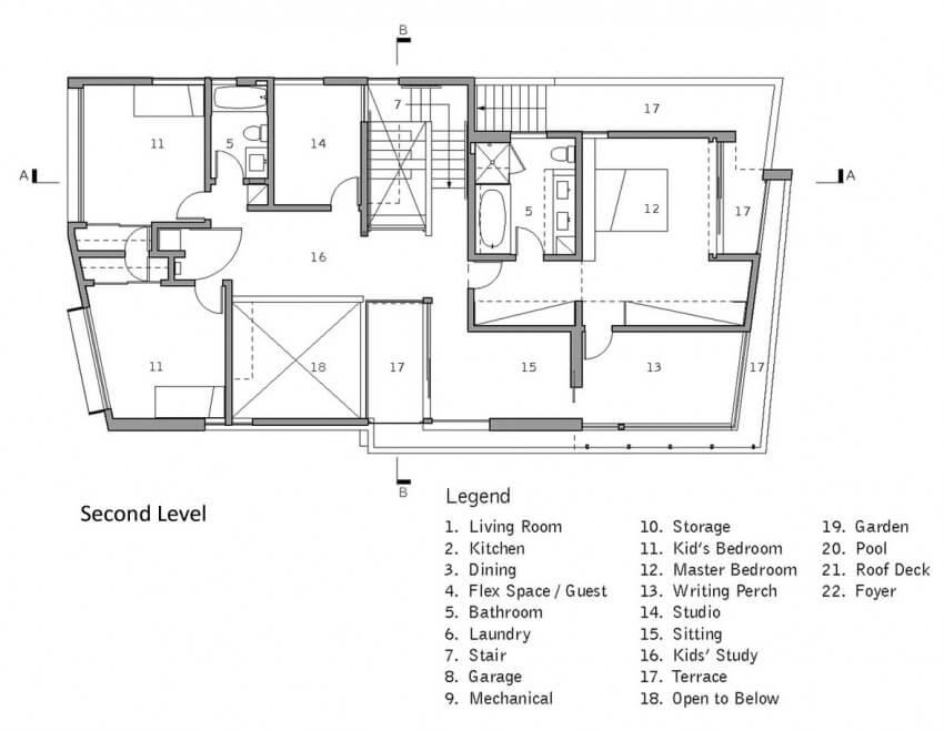 holleb residence planta do segundo pavimento