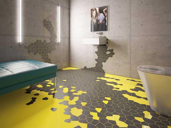 banheiro decorado com adesivo