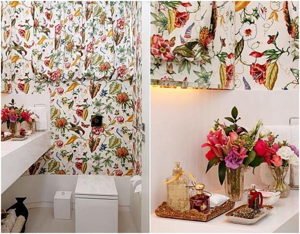 54 banheiros decorados ideias fotos e dicas para decorar - Papel decorado para paredes ...