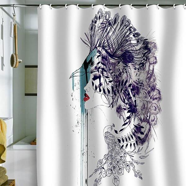 cortina de banheiro decorada