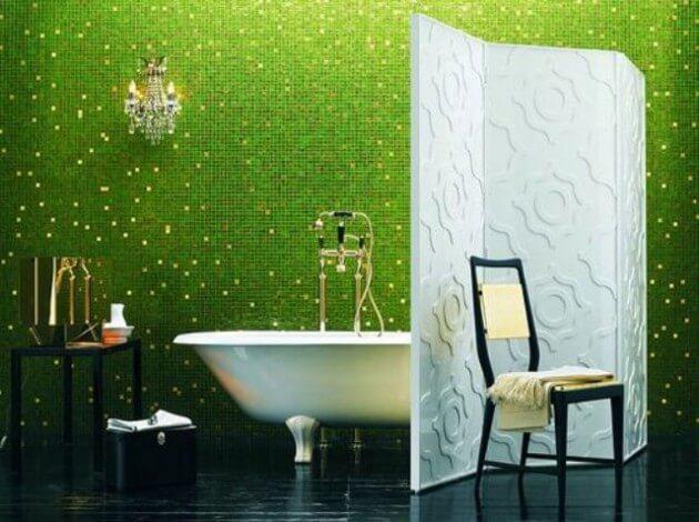 banheiro decorado com pastilha