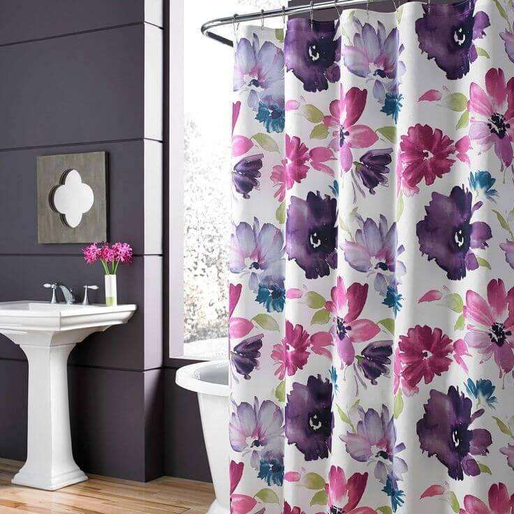 banheiro decorado floral
