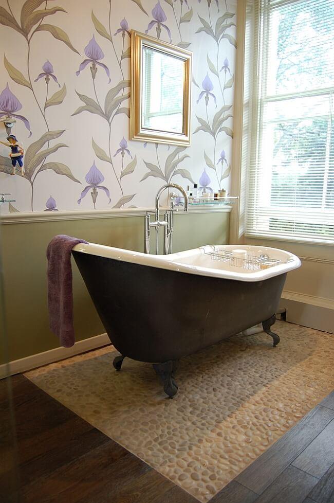 banheiro decorado papel de arede