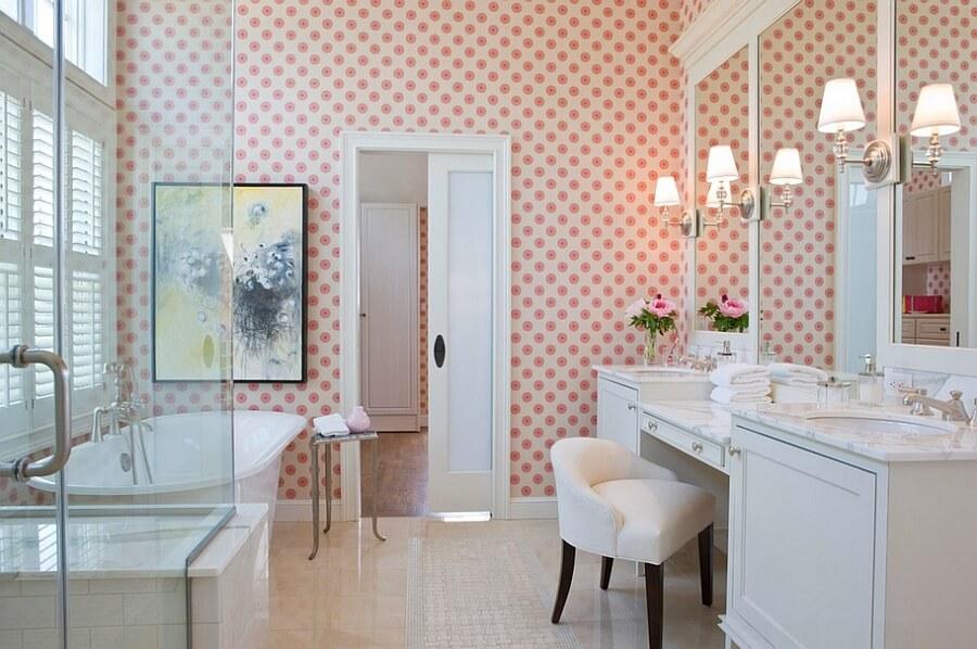 banheiros decorados papel de parede