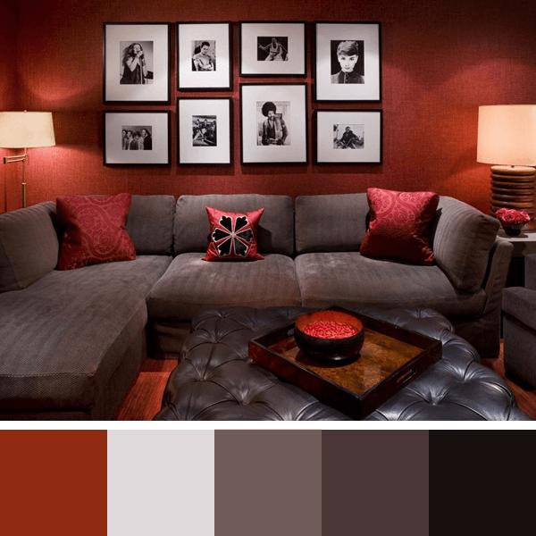 Decoracao De Sala Pequena Vermelha ~ Paletas de Cores para Sala  Arquidicas