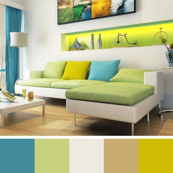 sala com cores análogas