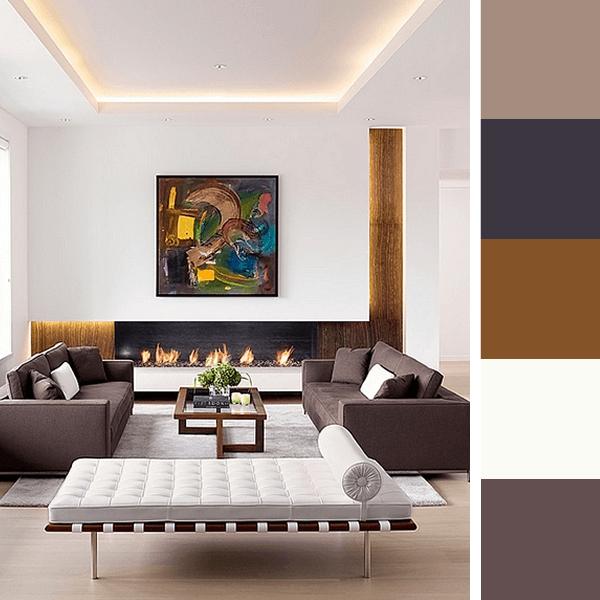 Paletas de cores para sala arquidicas for Pintura de interiores de casas salas