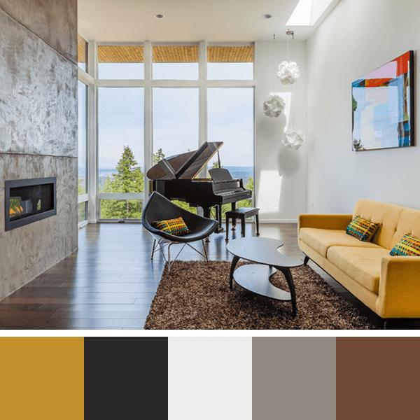 cores e revestimentos da sala