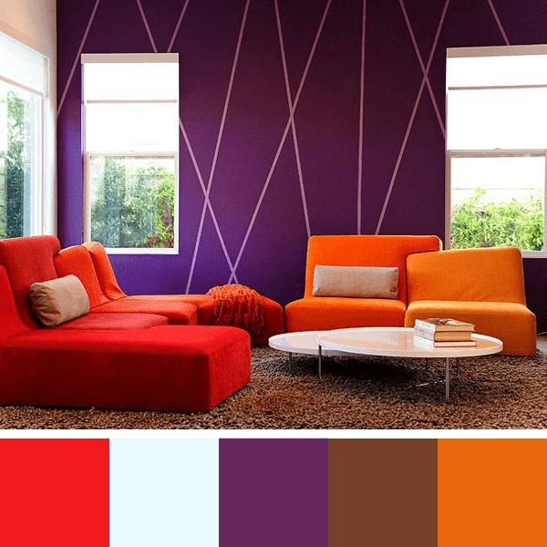 cores vibrantes para sala