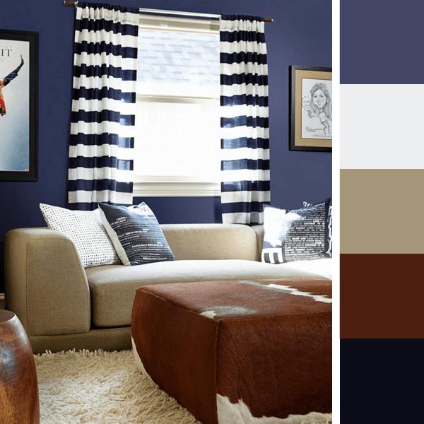 Almofadas Para Sala De Tv ~ Nas salas de TV o azul escuro e opaco é uma ótima opção de cor