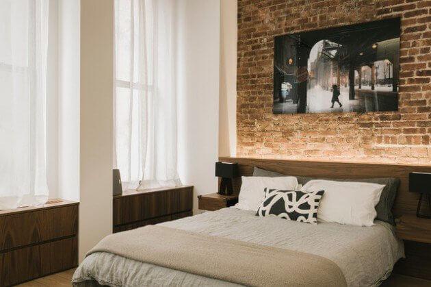 quartos planejados com parede de tijolos