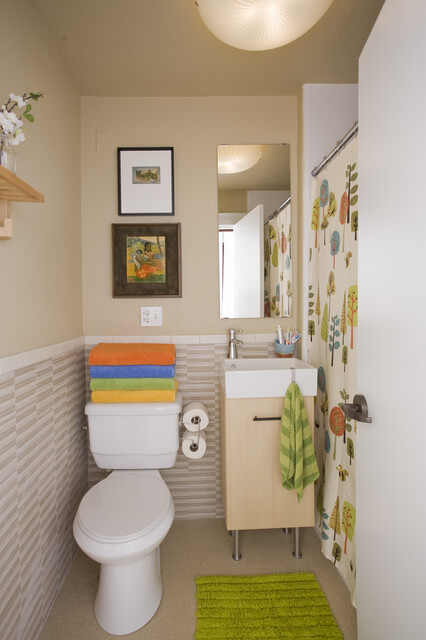 decoração de banheiro estreito