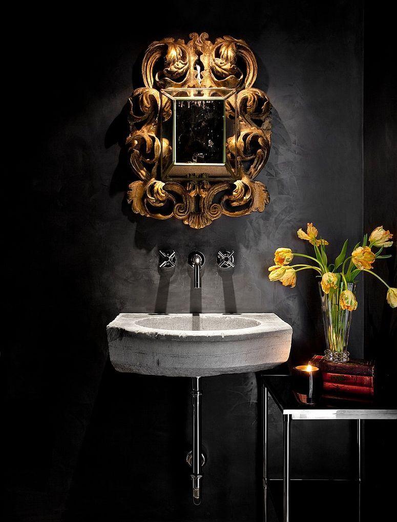 decoração de banheiro pequeno preto