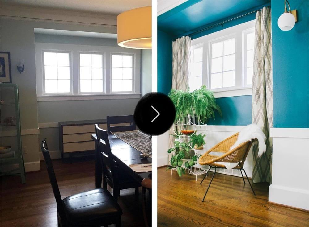 Um recanto próximo a janela na sala de jantar ofere um local ideal para introduzir as idéias de padrão e textura.
