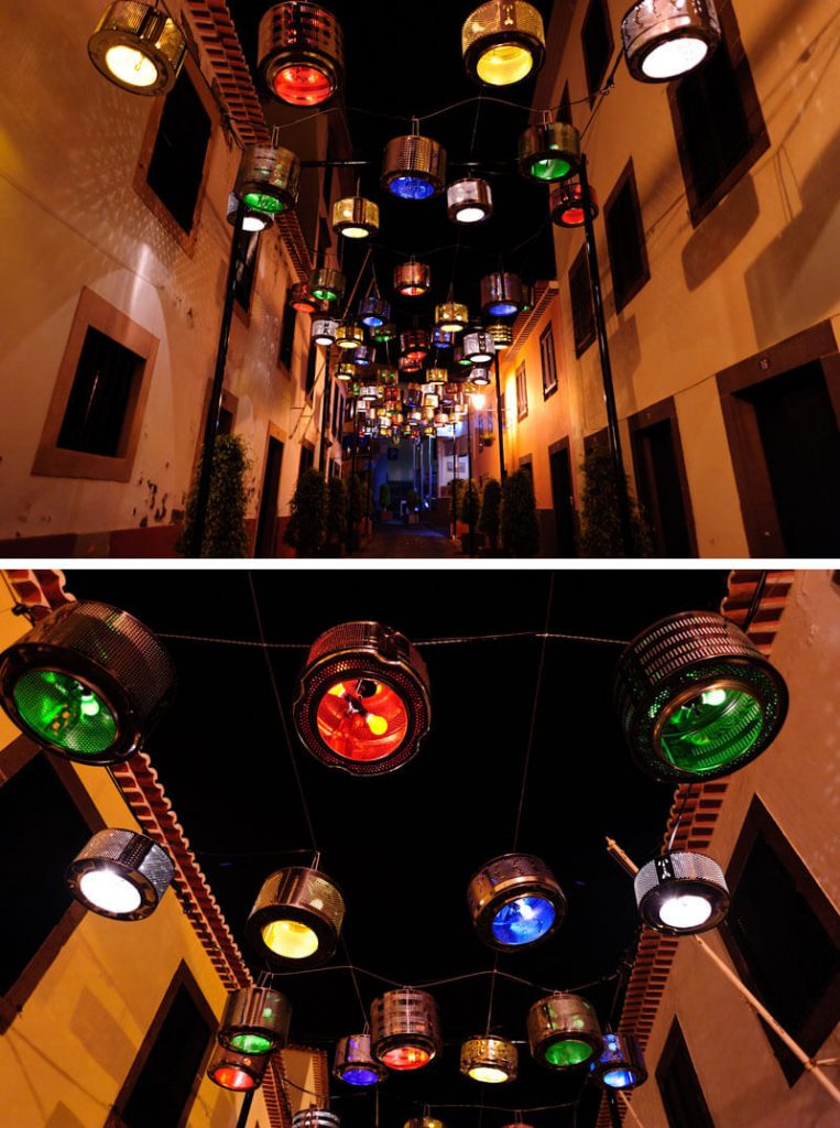 rua-iluminada-tambores-reciclados