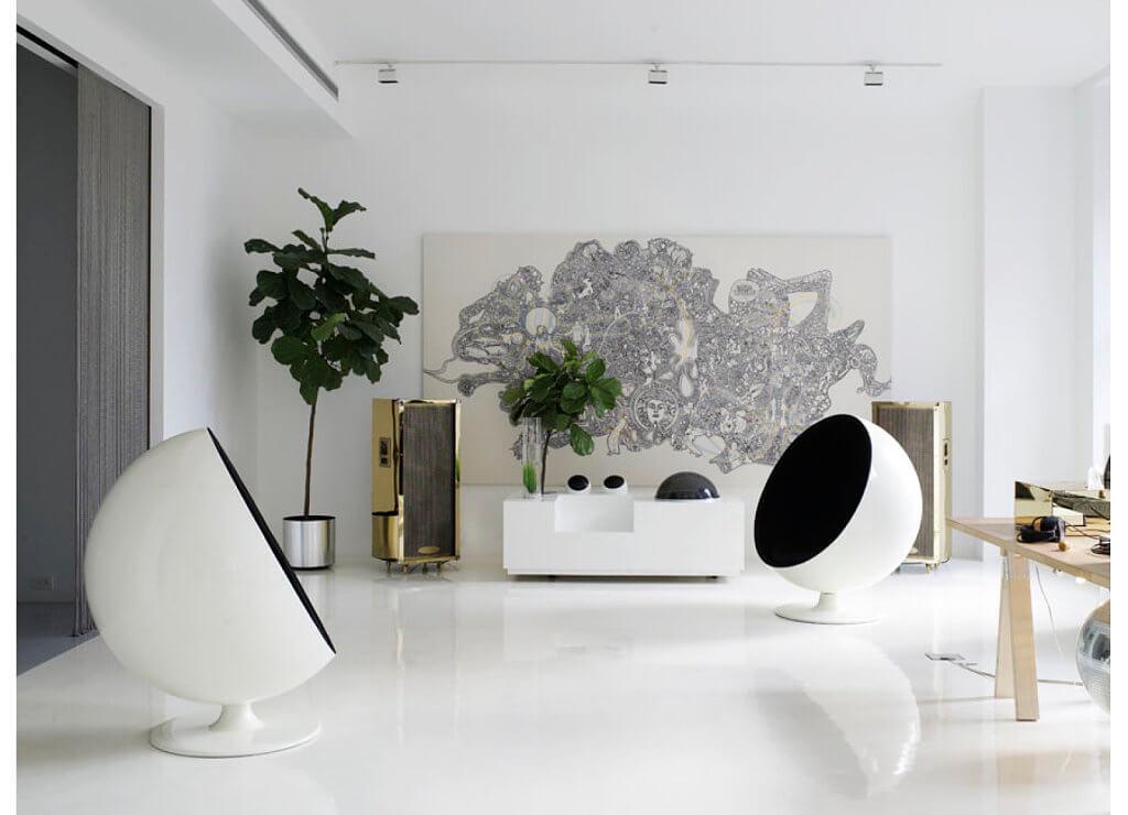 piso de resina branco