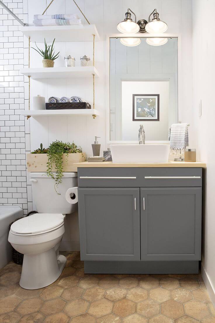 banheiro pequeno rústico